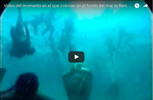 Video del momento en el que colcoan en el fondo del mar la Reina de los Mares en Acapulco.