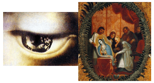 imagenes que aparecen en los ojos de la virgen de guadalupe