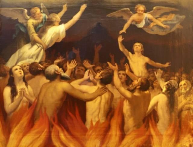 Día cuarto: Señor mío Jesucristo, que exiges la penitencia aun de los pecados veniales en este mundo o en el otro: danos temor santo de los pecados veniales y en misericordia de los que, por haberlos cometido, están ahora purificándose en el purgatorio