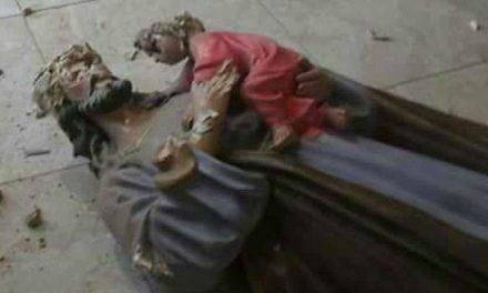 Destruyen imágenes de San José, Jesús y la Virgen en iglesia de Colombia. FOTO